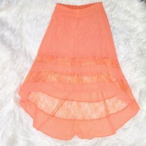 Charlotte Russe Peach High-Low Skirt